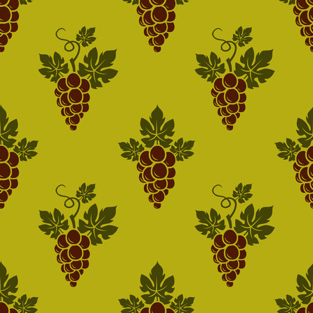 Grape Branches seamless pattern on golden background. Vector illustration.  イラスト・ベクター素材