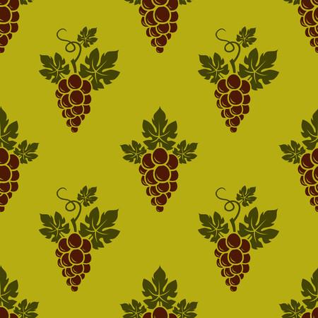Grape Branches seamless pattern on golden background. Vector illustration. Ilustração