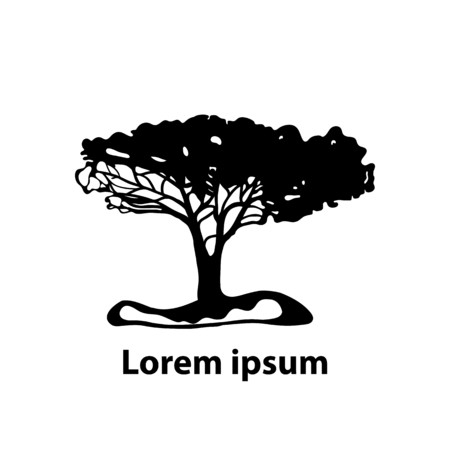 Silhouette of a tree on white. Good for icon, label, any design. Vector Illustration.