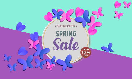 Spring Sale Banner with with paper hearts and butterflies. Vector Illustration. Stock Photo