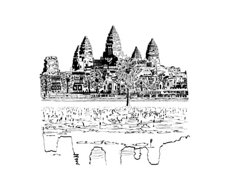 Hand drawn sketch of Angkor Wat Temple, Cambodia. Vector Illustration