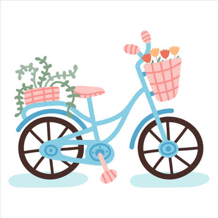 Hand drawn bicycle with plants isolated on white background.