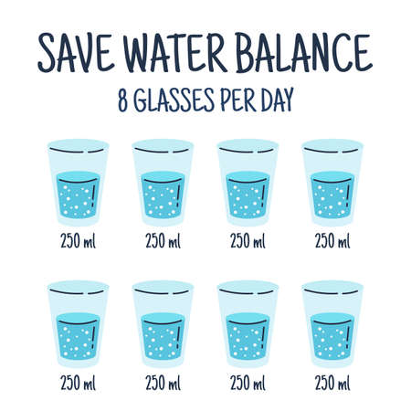Water balance tracker. 8 glasses per day. Glasses with water. Colored flat vector illustration isolated on white background.