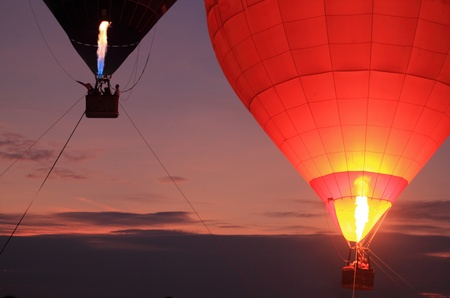 hot air balloons festival: Fire balloon with sunset