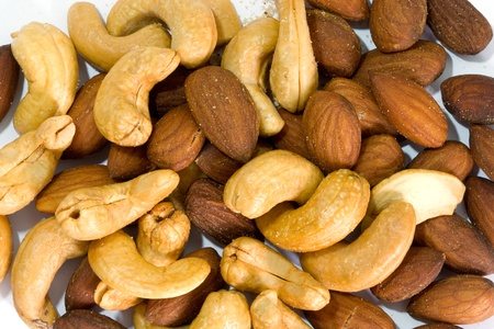 Ripe cashew nuts and almonds Stock Photo - 13542850