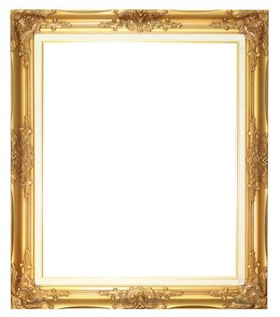 frame wood: Old style goldern wood frame  Stock Photo