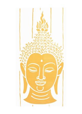 buddha face: gold buddha head on white background Stock Photo