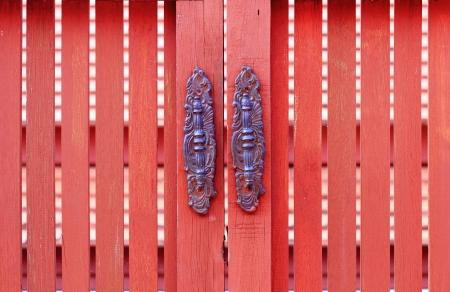 Old style of doorknob ,wood door Stock Photo - 16452485