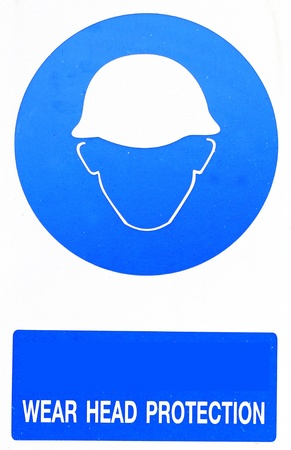 head protection: wear head protection sign