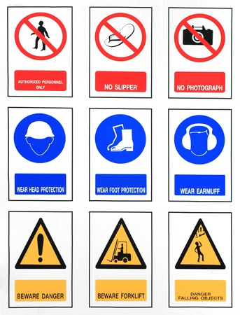 The collection of work, safety, harmful, Industry signs  photo