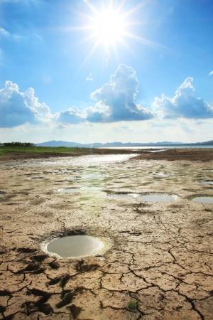 dryness: Mud crack, blue sky and cloud