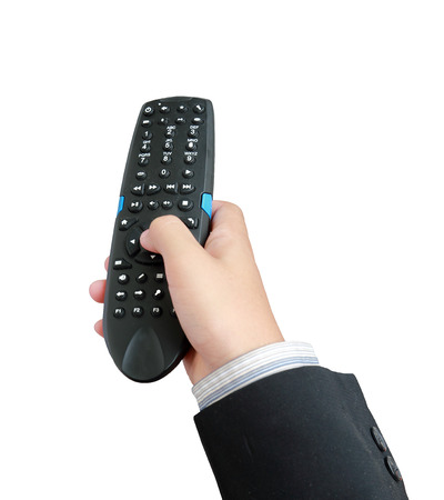 Businessman hand with remote control, isolate on white Stock Photo