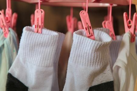 Socks hang on hanger 版權商用圖片