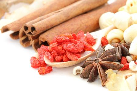 Chinese herbals on white background Stock Photo