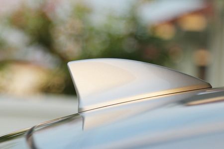 GPS aerial antenna shark fin shape on a car for radio navigation system
