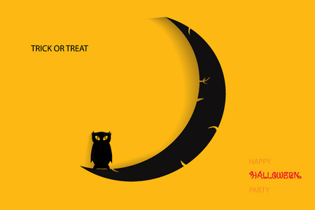 Halloween illustration with black owl on moon Vector