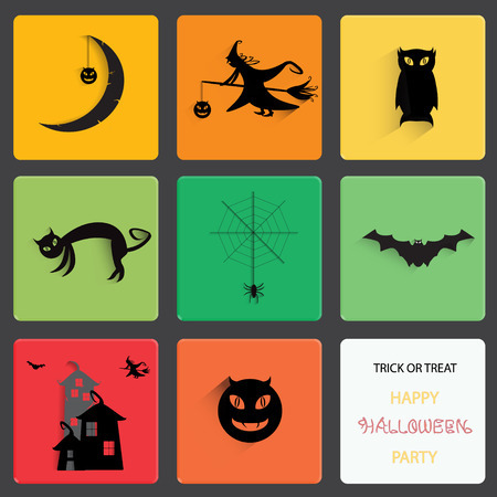 black shadow: Happy Halloween Party, Set of Halloween black shadow silhouette on square shape