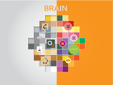 Creative Idea concept background design, Left and right brain thinking.