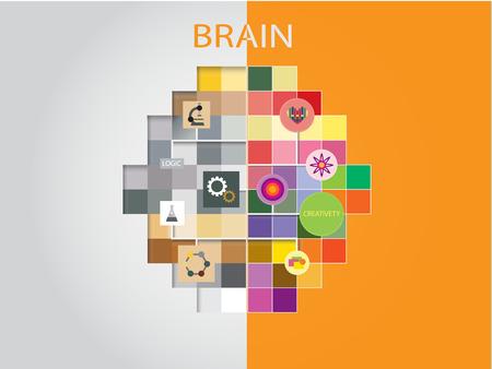 Creative Idea concept background design, Left and right brain thinking.