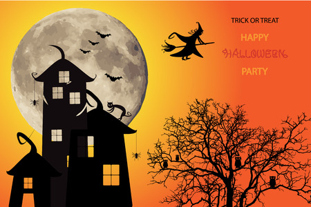 black shadow: Halloween icon in black shadow silhouette, Full moon and tree background