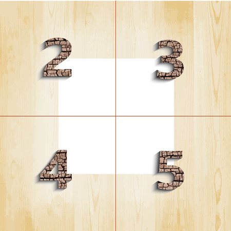 4 5: 2 3 4 5 wooden font with shadow on wood boards background Illustration