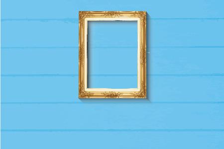 Old style golden picture frame on light blue wood background Illustration