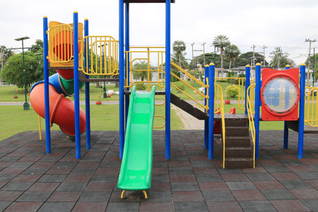 Colorful Childrens playground at park photo