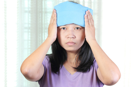 thermotherapy: Head cold or Hot Therapy Woman. Stock Photo