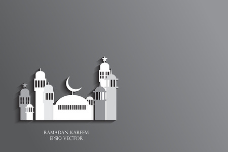 masjid: Abstract view of Mosque or Masjid, paper design, vector eps10