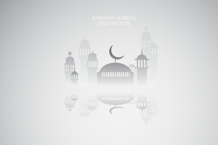 masjid: Abstract view of Mosque or Masjid and reflection, paper design, vector eps10