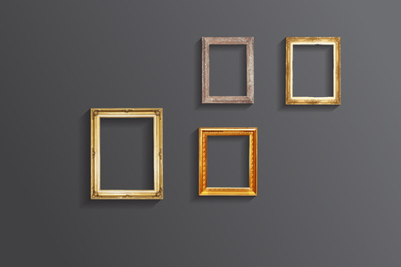 wood frame: Set of vintage classic picture wood frame