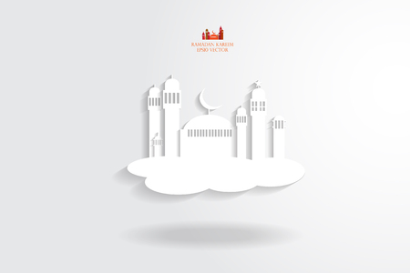 masjid: Abstract view of Mosque or Masjid with shadow float, paper design, vector eps