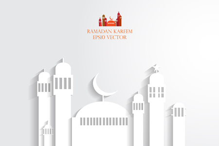 masjid: Abstract view of Mosque or Masjid with shadow, paper design, vector eps