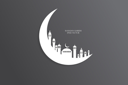 masjid: Moon, Abstract view of Mosque or Masjid with shadow on moon, paper design, vector eps
