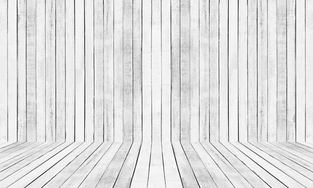 white wood floor: White floor and wall Wood Pattern background. Stock Photo