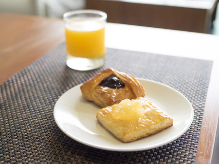 pasty: Close up sweet fruit danish pasty desserts.