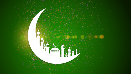 masjid: Moon, Abstract view of Mosque or Masjid with shadow on moon, paper design.