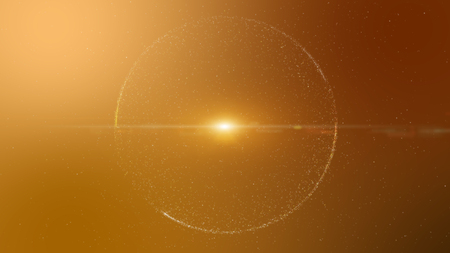 light ray: Abstract orange background with circular shape formed of small particles. Light ray effect