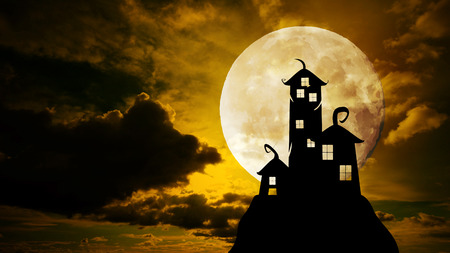 nightly: Full moon Halloween Nightly Background with castle silhouette on the hill against dramatic clouds sky. Stock Photo
