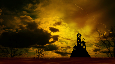 nightly: Halloween Nightly Background with castle silhouette on the hill against dramatic clouds sky.