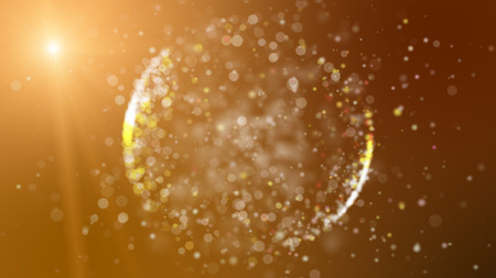 ray of light: Abstract orange background with circular shape formed of small particles. Light ray effect