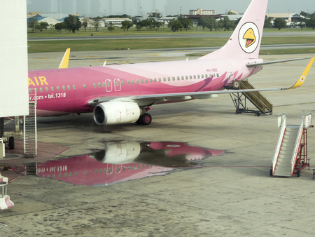 landed: BANGKOK, THAILAND -MAY 21 : Nok Air Plane landed at Don Mueang International Airport on May 21, 2016 in Bangkok, Thailand. Editorial