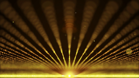 ray of light: Gold orange abstract animation background with moving and flicker particles form. Backdrop of bokeh light ray effect.