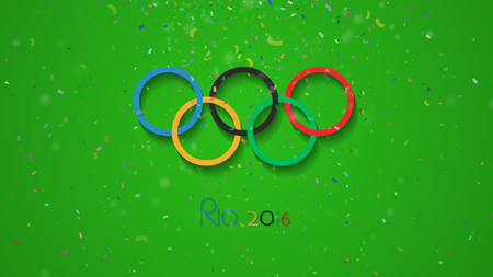 NAKHON RATCHASIMA, THAILAND - JULY 29, 2016: Logos of the 2016 Summer Olympic Games in Rio de Janeiro, Brazil, from August 5 to August 21, 2016, Multicolored Confetti  particle on green background.