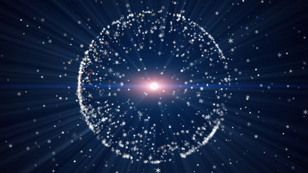 ray of light: Christmas blue background with circular shape formed of small snowflakes star particles. Light ray effect.