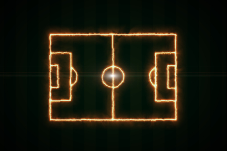 ray of light: Top view of soccer field or football field, fire lines, dark green background.