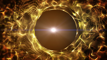ray of light: Dark gold yellow and glow particle circle abstract background with light ray effect.