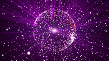 ray of light: Abstract background with circular shape formed of small particles. Light ray effect.