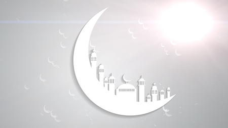 Islamic ramadan in white moon shape,dust particle background. Light ray effect.