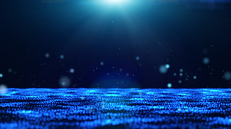 dark blue background with floating blue bubbles and sparkling light from the top.